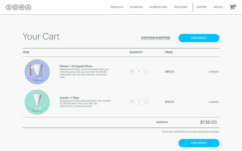 The newly created cart page allowed users to manage multiple products and quantities