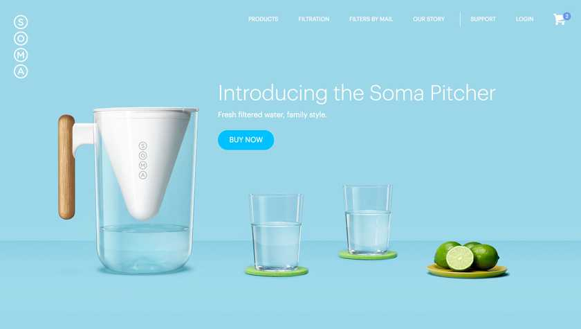 Soma's updated landing page promoting their new product, the pitcher